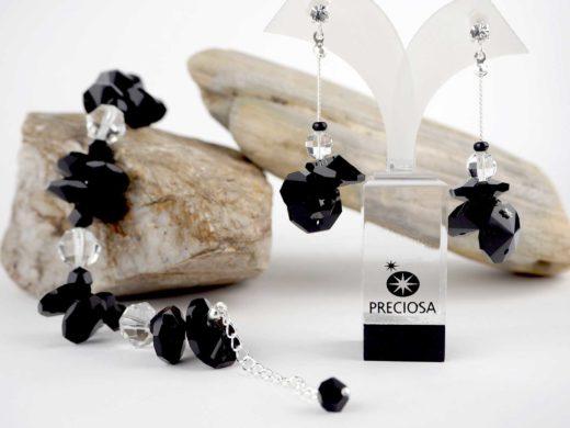 Bransoletka i kolczyki z czarnych kryształków | Biżuteria kryształowa IKA