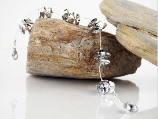 Bransoletka z jednolitego srebrnego łańcuszka z kryształkami | Biżuteria kryształowa IKA