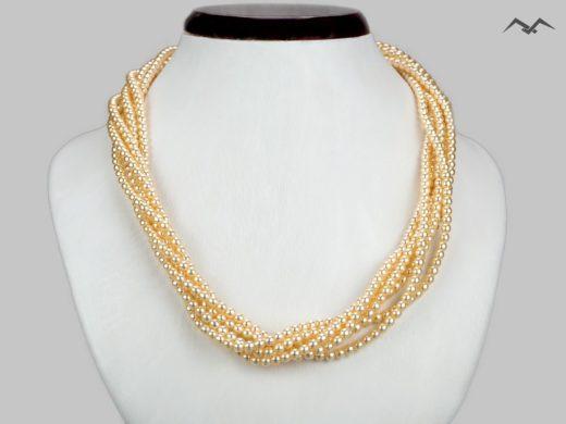 Naszyjnik z miodowych pereł szklanych