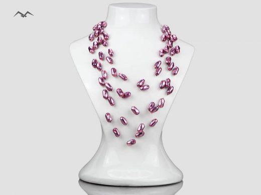 Biżuteria-artystyczna-z-koralików-ciemny-róz