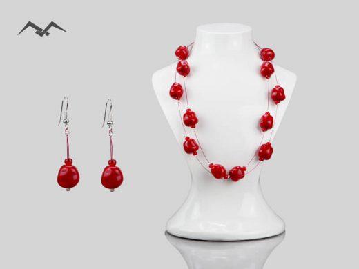 Biżuteria-z-koralików-czerwona