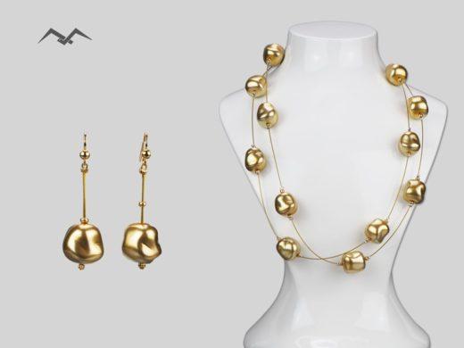 Naszyjnik i kolczyki ze złotych koralików szklanych