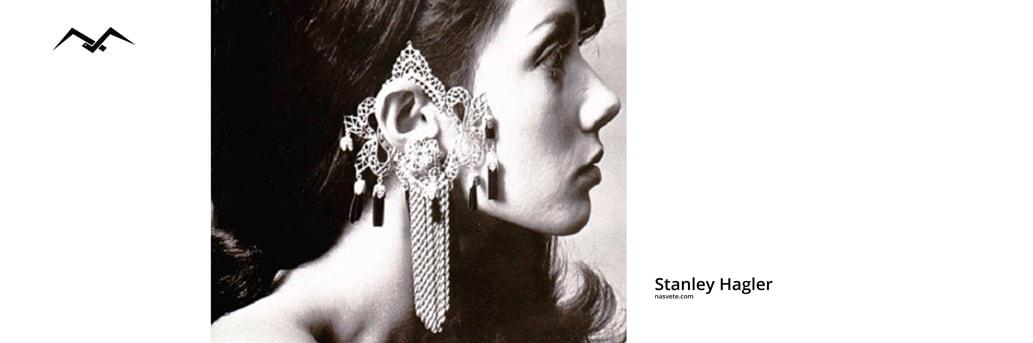 biżuteria vintage wielki kolczyk projektu stanley hagler